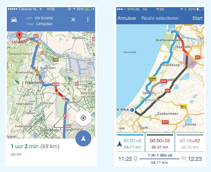 Links het advies van Google, rechts dat van de Superroute. Google voorspelde slechts 10-15 minuten vertraging voor de route over de A9, maar dat bleek ongeveer een uur te zijn – conform de voorspelling van de Superroute-app.