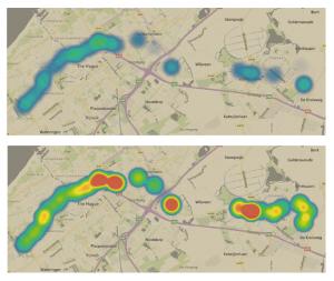 Figuur 4: De reizigersbetrouwbaarheid van lijn 4 geplot op een kaart (per halte), voor twee verschillende dagen. (Klik op de afbeelding voor een grotere weergave.)