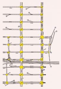 Figuur 2. Het in Aimsun gesimuleerde netwerk in de casestudie: upper east Manhattan. (Klik op de figuur voor een grotere weergave.)